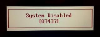 Система недоступна. BIOS заблокирован после неудачного ввода пароля.